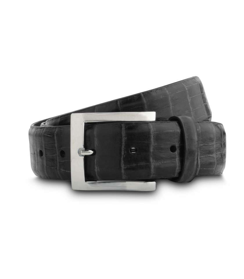 Crocodile patttern leather belt