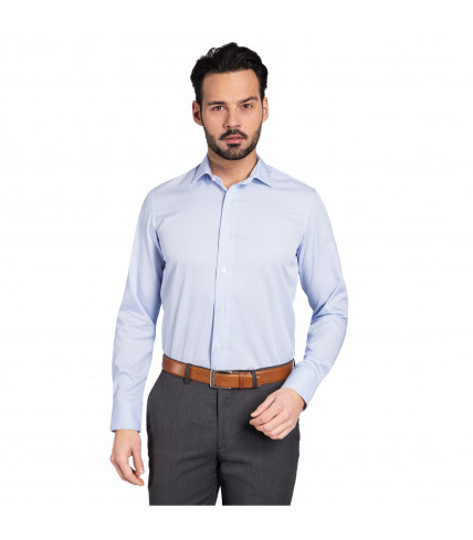 Classic fit shirt 100% non iron cotton blue vichy
