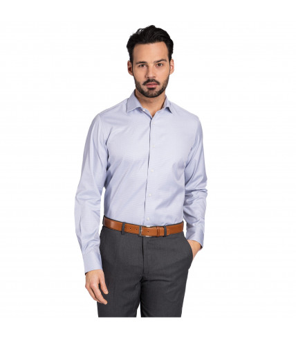 Blue checked classic fit shirt 100% cotton