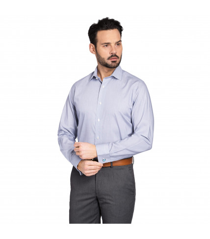 Blue pinstriped regular fit french cuffs dress shirt