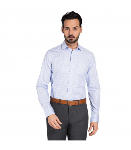 Classic Fit Dress Shirt 100% cotton blue checks