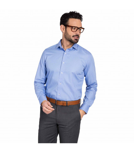 Blue checked classic fit dress shirt 100% cotton