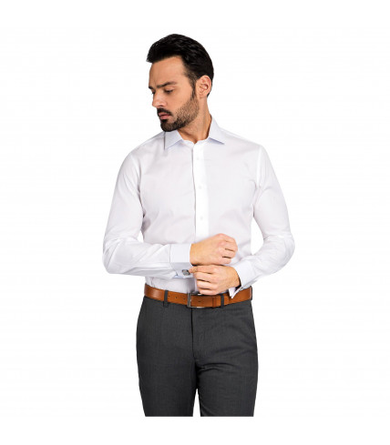Non iron slim fit French cuff dress shirt 100% cotton