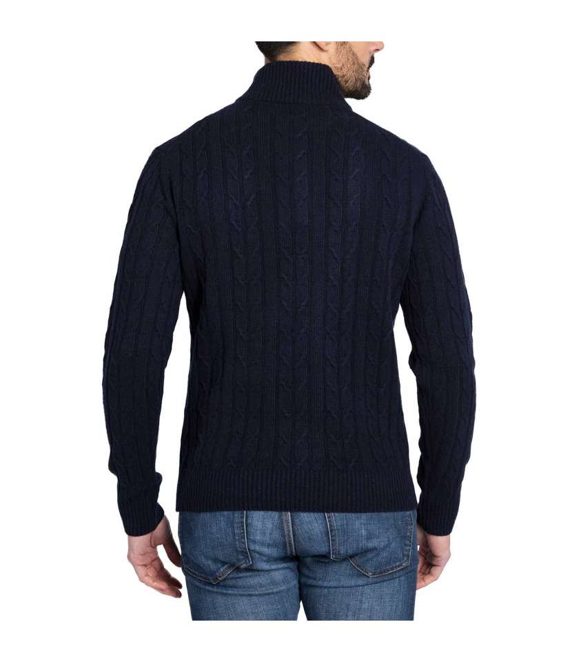 Wool and cashmere cable knit sweater with buttoned funnel neck