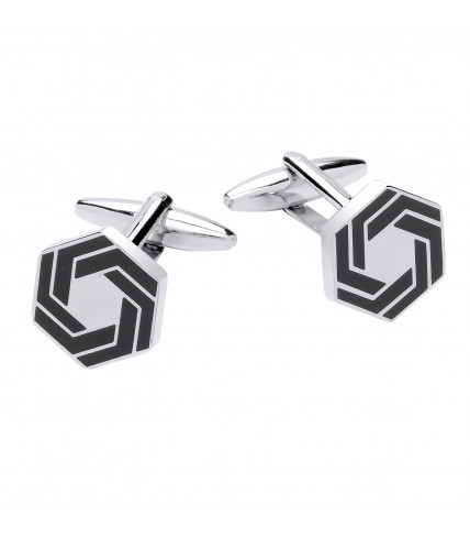 Graphic hexagonal cufflinks