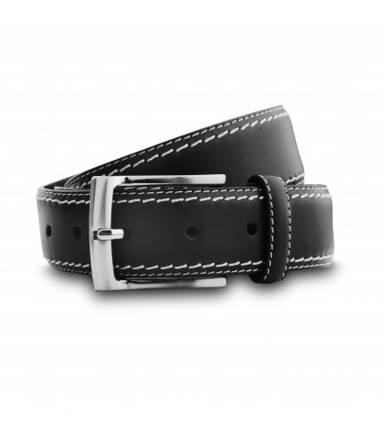 Topstitch leather belt