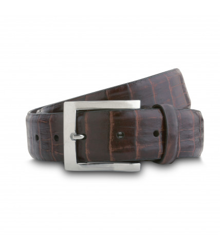 Crocodile pattern leather belt