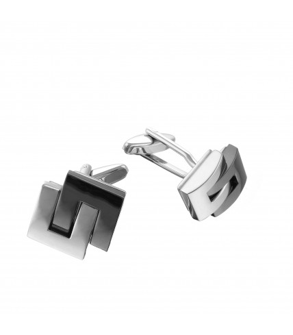 Cufflinks metal black and silver plated
