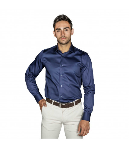 Non Iron Plain Slim fit dress shirt satin of cotton