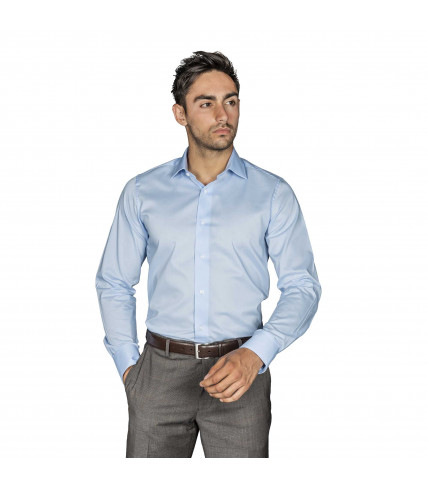 Sky Blue Plain Slim Fit dress shirt of cotton