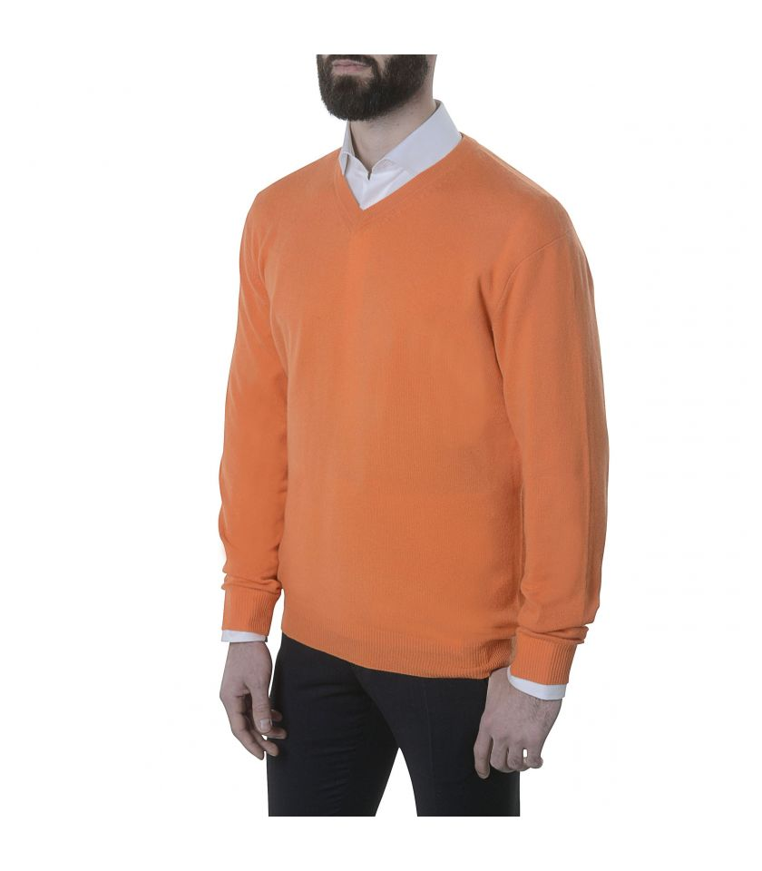 Pull orange col v 100% cachemire