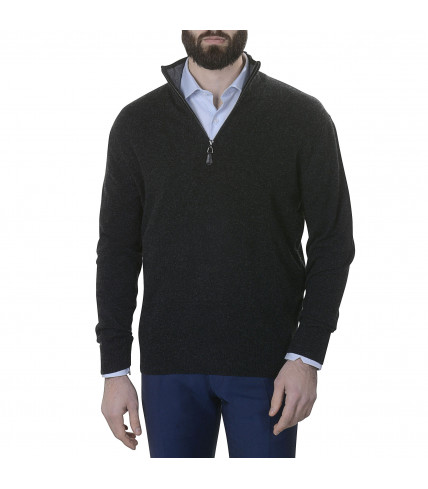 Pull cachemire col zip gris anthracite
