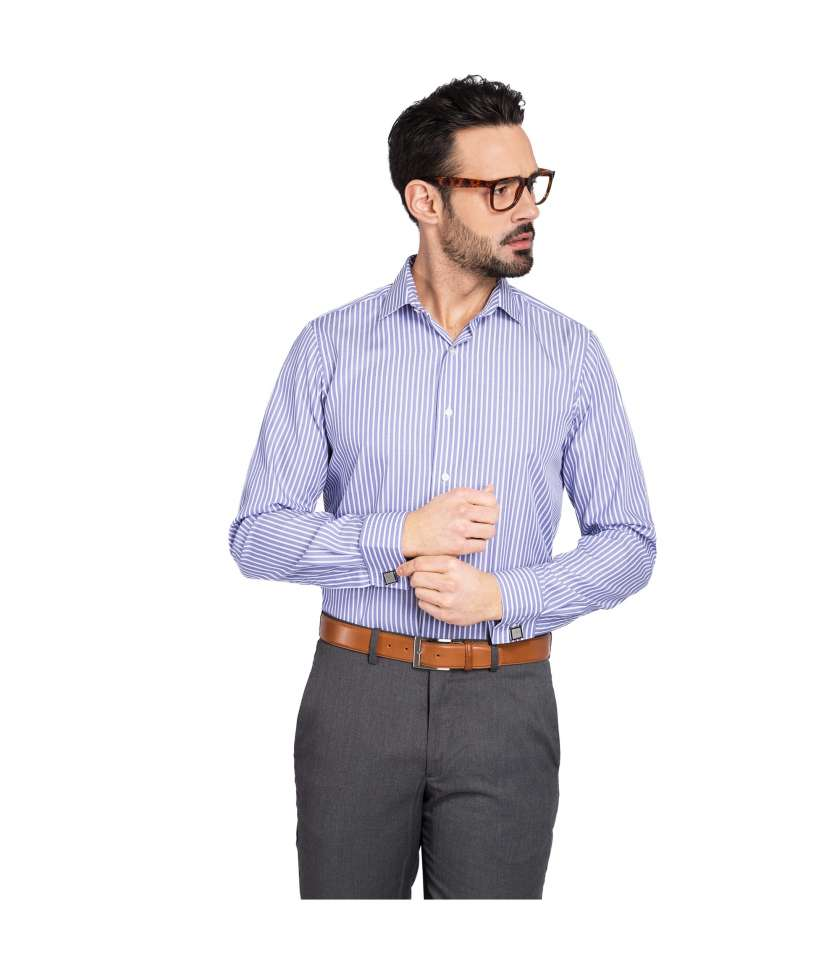 b14c005efb16 Non-iron blue striped classic fit shirt with french cuffs for men