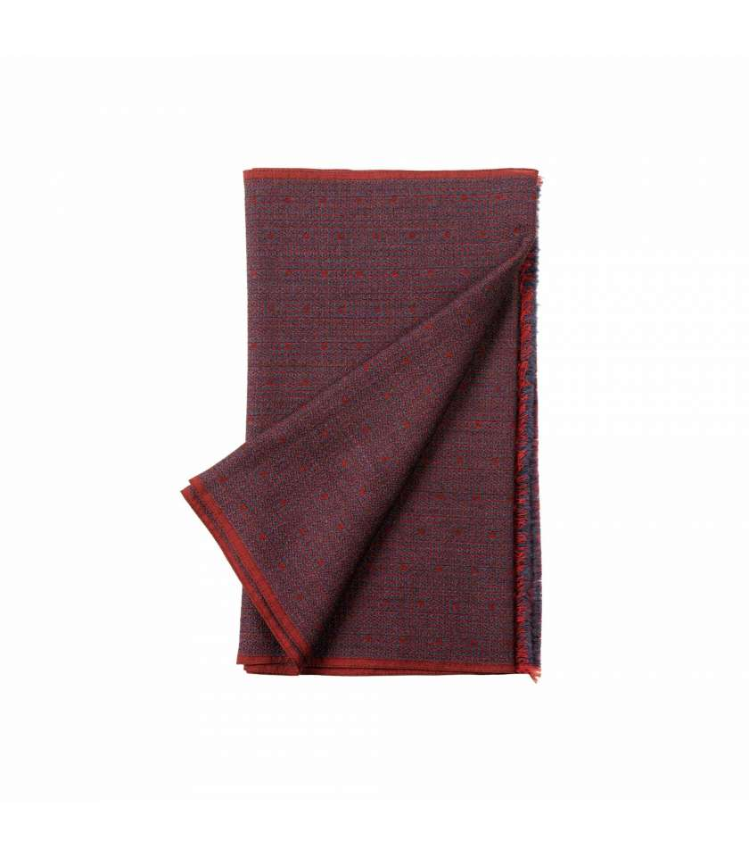 de628262e Scarf with navy and red mosaic, made in Italy with silk and wool.