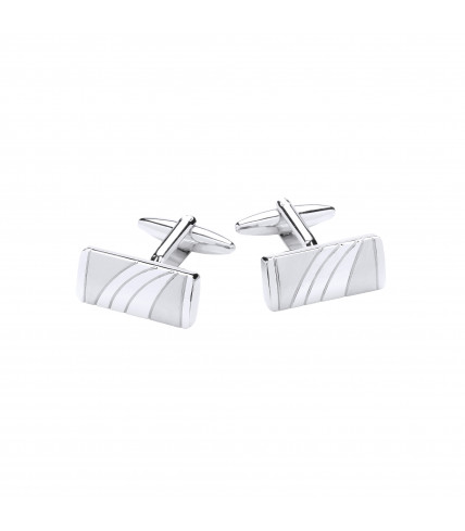 Rectangle cufflinks brushed and polished metal - Silver