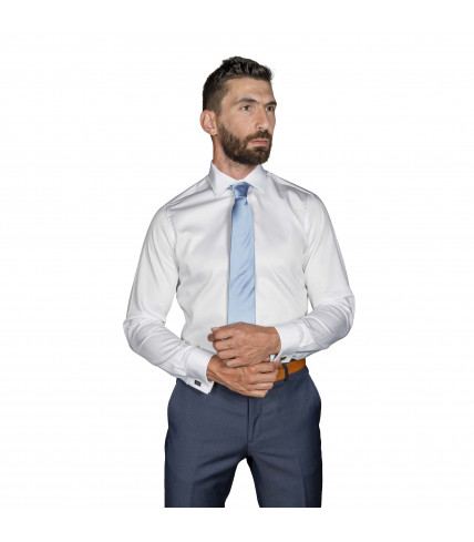 White satin Non iron Classic Fit Dress shirt with French cuffs