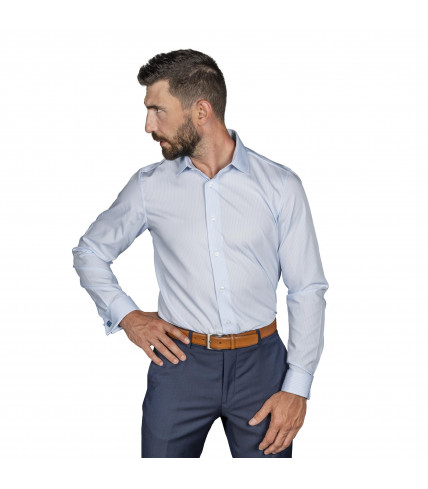 Non iron Slim Fit striped shirt cotton with French Cuffs