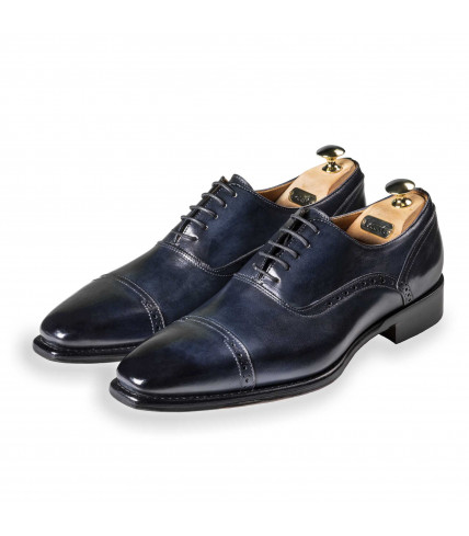 Oxford Shoes with perforated stiches Iseo 386 - Blue