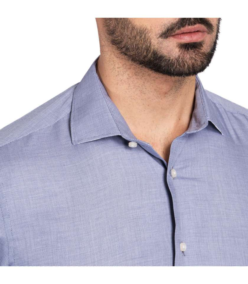 Navy End-on-end Slim fit dress shirt 100% cotton