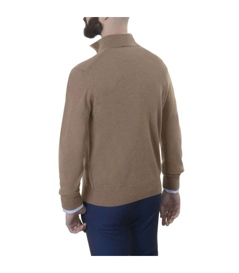 Pure cashmere sweater with bicolour zip neck