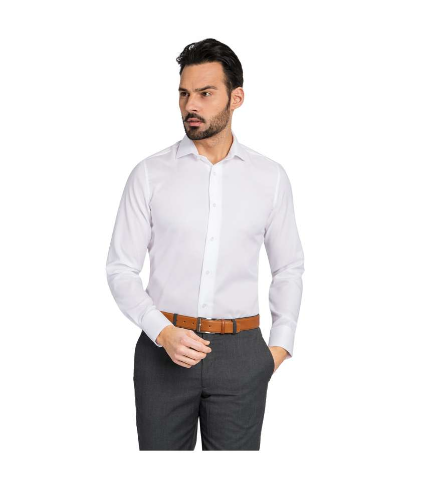 Plain Slim fit dress shirt twill of cotton