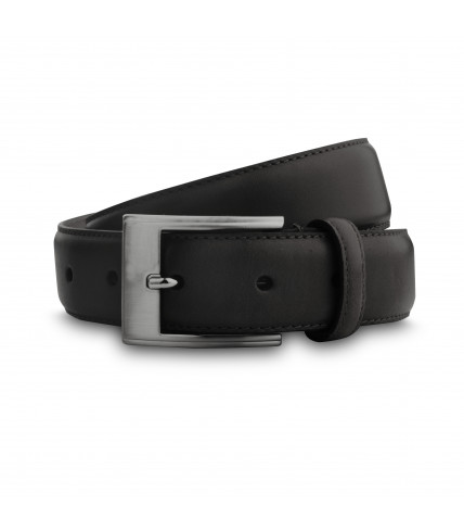 Black leather belt 30mm