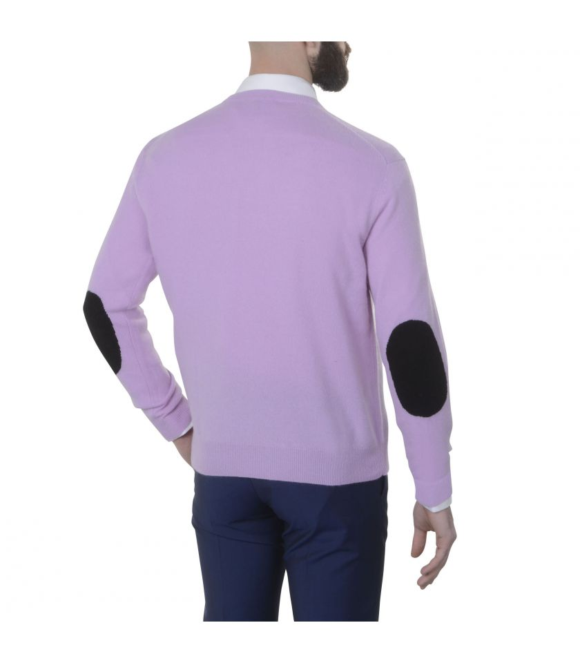 Pure cashmere sweater V neck and elbow patches