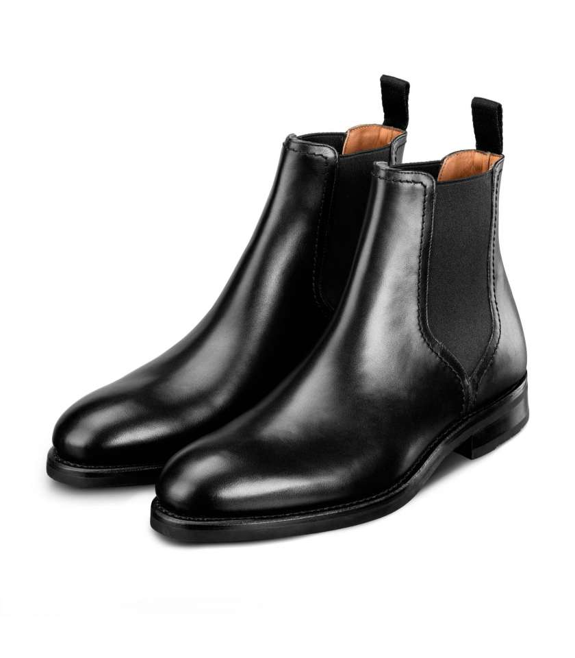 Black Chelsea boots, Goodyear welted with gum sole. d7dadc3f9f97