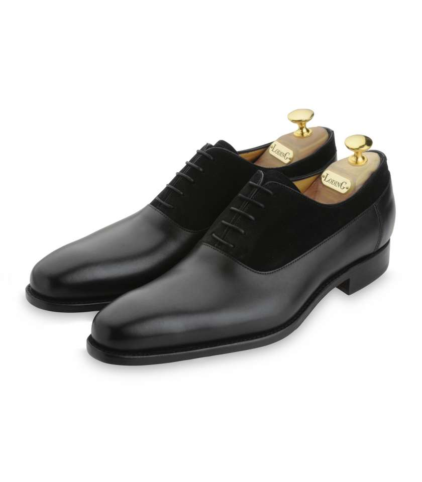 6991b475261570 Balmoral oxford shoes with calf leather and suede. Goodyear welted.