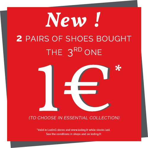 2 pairs of shoes bought, the 3rd for 1 â¬