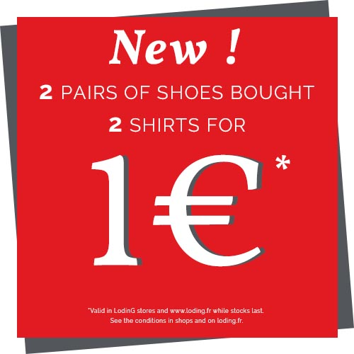 2 pairs of shoes bought, 2 shirts for 1 €