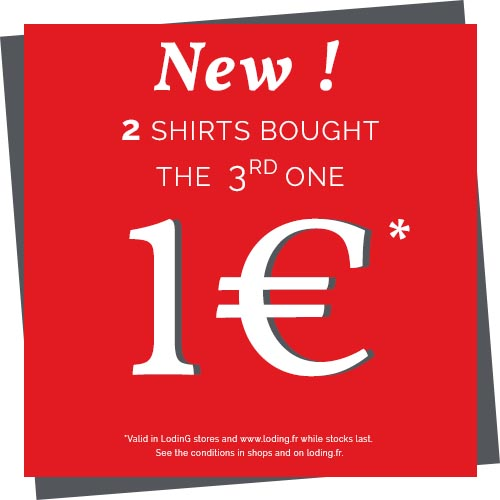 2 pairs of shirts bought, the 3rd for 1 €