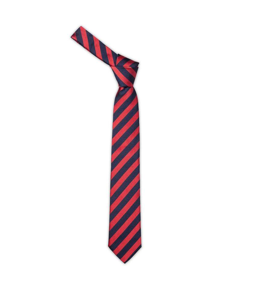 542fd7b338d0 Navy and red repp tie crafted in pure silk. Made in Italy.