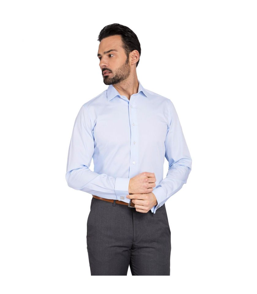 75096a55e French cuffs regular fit plain dress shirt crafted in non iron cotton
