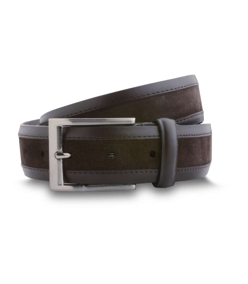 026c81005 Bimaterial mens  smooth leather and suede belt